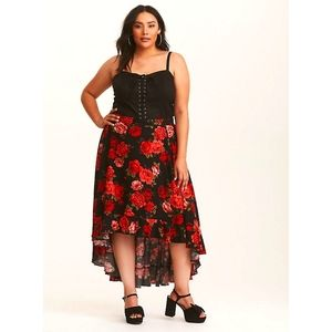 Dramatic floral high low skirt